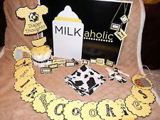 Milkaholic Baby Shower ~ Lot of 25 items (cow print, yellow, white)