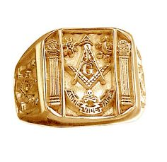 Solid 24KT Gold Vermeil Over Sterling Silver Free Mason Masonic Ring Jewelry | eBay