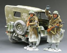 World War II U,S, Battle of the Bulge Friend or Foe - Made by King and Country Military Miniatures and Models. Factory made, hand assembled, painted and boxed in a padded decorative box. Excellent gift for the enthusiast. Military Action Figures, Star Wars Pictures, King And Country, Military Modelling, Military Diorama, Military Police, Toy Soldiers, Military History, Figure Drawing