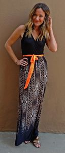 Kiki Maxi Dress Leopard print maxi dress with coral tie. Super soft and comfortable yet flattering and classy!