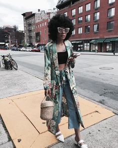 Floral robe, cropped jeans, basket bag, white mules
