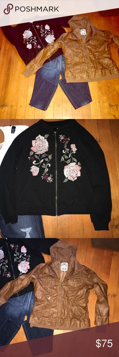 Black Bomber and Faux Tan Leather Jackets Black Bomber and Faux Tan Leather Jackets both XL and hardly worn. Jackets & Coats