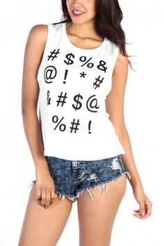 LoveMelrose.com From Harry & Molly | #$%& Print Tank Top - White