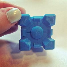 Something we liked from Instagram! Pretty proud of this #3dprint of a #companioncube I did today for someone. Homing in on dem skillz #highresolution #100microns #3dprinting #3dprinter #makerbot #replicator #videogame #portal #nerd by lindsbass check us out: http://bit.ly/1KyLetq