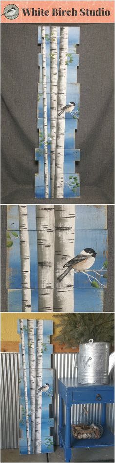 """White Birch Pallet art, Pine tree Reclaimed Wood Pallet Art, TALL Hand painted Aspen, Chickadee bird, upcycled, blue Wall art, Distressed  Original Acrylic painting on reclaimed Pallet boards. This unique piece is 46"""" tall x 9-12"""" wide  Perfect for that skinny wall space."""