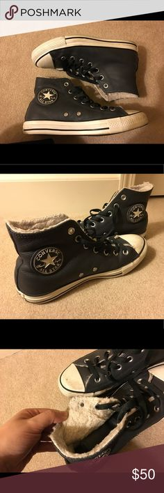 ba93c395180 Leather Converse hi-tops Faux fur lined grey black leather upper Converse  hi-top tennis shoes. Women s size 🚨no trades no low blow offers🚨 get off  when ...