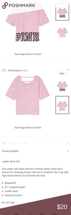PINK ladder back tee New in original packaging.  PINK ladder back tee featuring an open back with strappy details and cropped length.  Pairs perfectly with the black high waist shorts in my closet ❤ PINK Victoria's Secret Tops Crop Tops