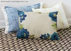 No-Sew pillows made from cheap placemats