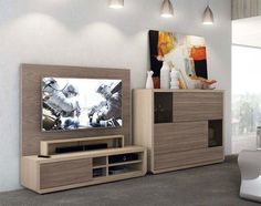 Contemporary Natural Wall Storage System with TV Unit and Cabinet