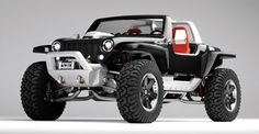 The Jeep Hurricane concept vehicle has two HEMI engines and the ability to turn itself completely around in place