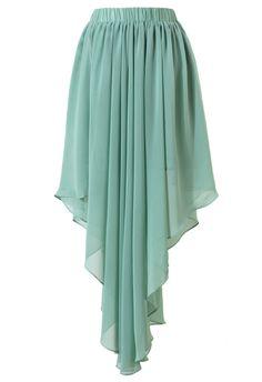 Mint Chiffon Asymmetric Waterfall Skirt