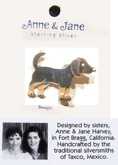 Precious Metal without Stones 164336: Anne And Jane Beagle Dog Brooch Pin Nwt Sterling Silver Solid 925 Designer New BUY IT NOW ONLY: $48.75