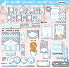 Elephant Baby Shower Decorations | Little Peanut Printable Party Kit Boy | Blue…
