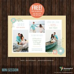 Get this Mini Session template FREE on Facebook for the month of April 2014! Simply become a fan at: http://www.facebook.com/pages/The-Hummingbird-Press/198748650202793