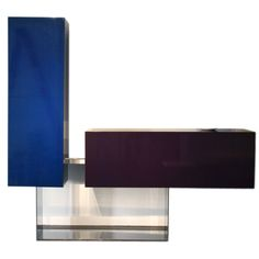 France  Contemporary  mirror polished Stainless steel and lacquered wood cabinet