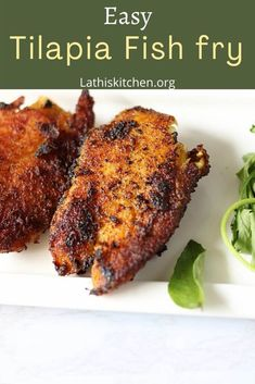 Easy Tilapia fish fry - Best fish fry to try - Lathi's Kitchen Poached Fish Recipes, Fresh Fish Recipes, Seafood Recipes, Indian Food Recipes, Asian Recipes, Tilapia Fish Fry Recipe, Fried Tilapia, Side Dishes Easy, Side Dish Recipes