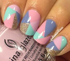 pastel color block nails with gold glitter accents!