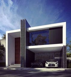 architecture Be inspired by leading architects. Minimal House Design, Modern Villa Design, Bungalow House Design, House Front Design, Residential Architecture, Architecture Design, Landscape Architecture, Modern House Facades, Minimalist Architecture