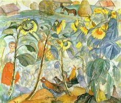 ❀ Blooming Brushwork ❀ - garden and still life flower paintings - Boris Grigoriev - Sunflowers