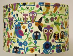 Multi-Coloured Owls Lampshade, Ceiling Light / Table Lamp shade