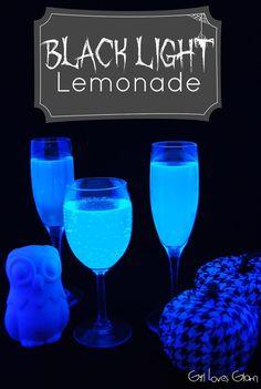 Black Light Lemonade - Girl Loves Glam Not lemonade but tonic water glows in the dark, so maybe for some other purpose...
