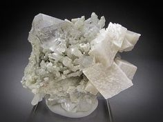 Mineral Specimen Fluorite and Dolomite on Quartz Crystals Huanggang Mine Hexigten Banner Ulanhad League Inner Mongolia A. R. China For Sale