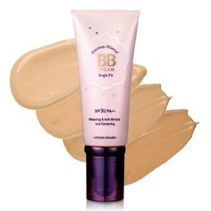 Etude House Precious Mineral BB Cream Bright Fit - cream consistency but quickly dries to a natural matte finish so apply with clean fingertips in one area at a time for even coverage, buildable coverage for problem areas, no grey cast, adds no moisture so if you have dry skin use a moisturizer first