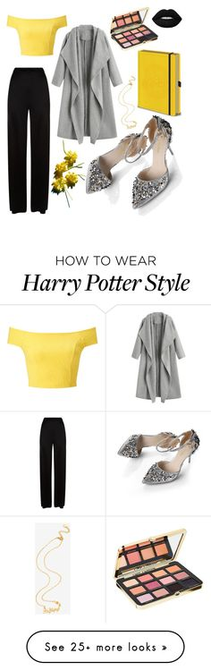 """hufflepuff"" by hampster12 on Polyvore featuring Warner Bros., Miss Selfridge, Temperley London and Too Faced Cosmetics"
