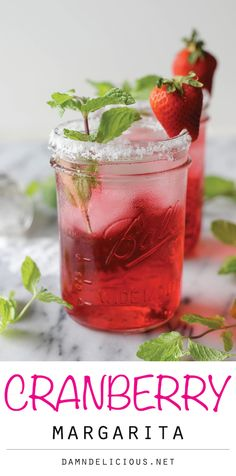 Cranberry Margarita - A refreshing cocktail with a bit of lemon-lime soda and cranberry juice fused with mint leaves!