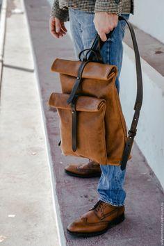 Купить Рюкзак-скрутка коричневый - коричневый, кожаный рюкзак, женский  рюкзак, мужской рюкзак c9984c86748