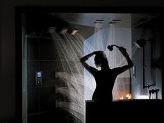 I'll probably never shower with enough people to truly justify something like this, but a Kohler WaterTile shower system would be pretty awesome. Digital Showers, Spa Design, Shower Systems, Public Art, Pretty Cool, My Dream Home, Image, Wellness, Interiors