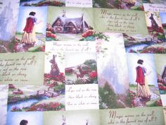 Lot Of 4 Snow White Fabric Panel Quilt By