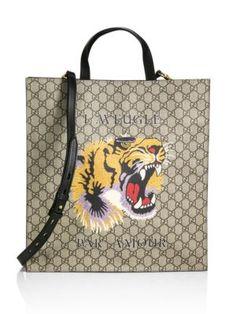GUCCI Gg Supreme Tiger Tote. #gucci #bags #shoulder bags #hand bags #canvas #tote #