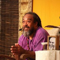 Mooji with a phototgraph of his teacher, the late Papaji. A.L.