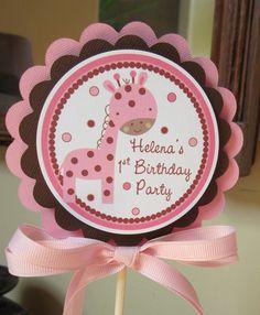 Pink Giraffe Happy Birthday