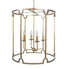 "$472.50  24.5""W x 24.5""D x 26.25""H  4 bulbs - 60 watts Materials: Metal Finish: Antique Gold"
