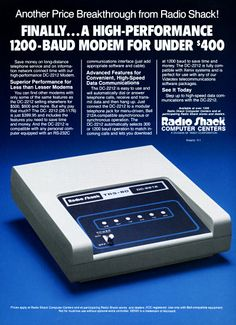 Radio Shack TRS-80 DC-2212 Modem 1200 Baud - 1985 I had a 300 baud. I would have killed for one of these! I got one years later.