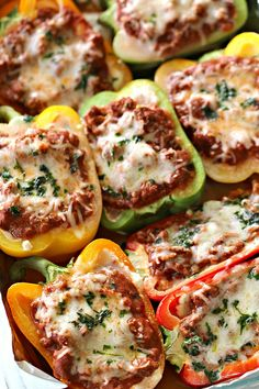 Ground Turkey Lasagna Stuffed Peppers - Six Sisters' Stuff | These are a great low-carb alternative to regular lasagna – it has all the same flavors, just without all the noodles. Serve it with our Italian Fresh Green Salad and dinner is done! #dinner #lowcarb #sixsistersrecipes