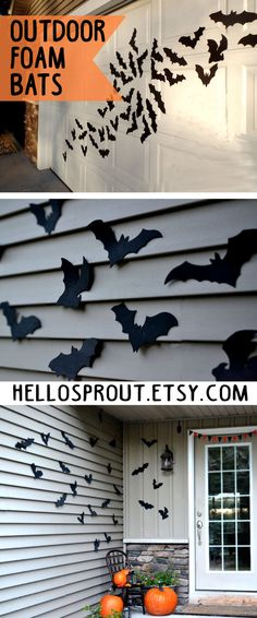 Bat Halloween Decoration 16 Bats Reusable Wall von HelloSprout