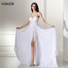 Romantic Beach Wedding Dress Boho Vintage Lace Sexy Split Backless Spaghetti Straps Chiffon Bridal Gown Plus Size
