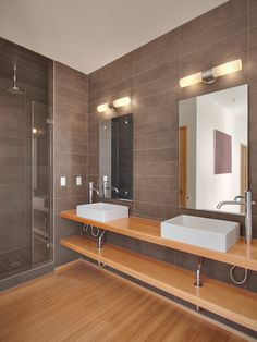 Contemporary urban glamour on pinterest contemporary for Gray and brown bathroom ideas