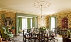The dining room is sheathed in Chinese rice-paper wall coverings that once hung in Shipman's dining room at New York's Beekman Place apartment building. The plaster ceiling medallion is modeled after the camellia, Edgar's favorite flower.