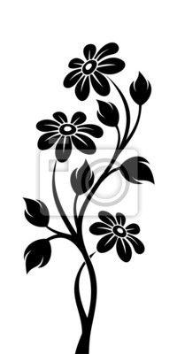 Vinilo negro silueta de la rama con flores. ilustración del vector. - recargado • PIXERS.es