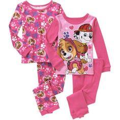 Paw Patrol Baby Toddler Girl Long Sleeve Cotton Tight Fit Pajamas, 2-Sets