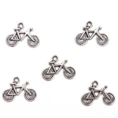 Bicycle Charms: Antique Silver