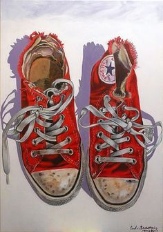 Old All Stars by Carlos Red Chucks, Converse All Star, All Stars, Arte Pop, Shoe Art, Painted Shoes, Grafik Design, Art Sketchbook, Red Shoes