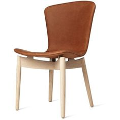 Mater Shell Dining Chair - Leather Upholstery ($950) ❤ liked on Polyvore featuring home, furniture, chairs, dining chairs, colored dining chairs, colored furniture, colored chairs and leather upholstered dining chairs
