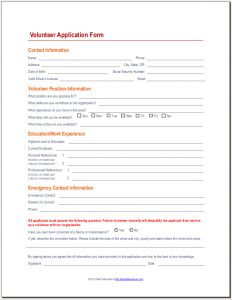 Volunteer Application Form- High School Hours Available | Work ...