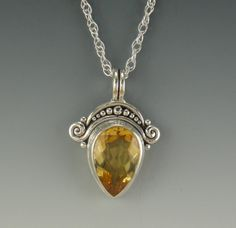 Sterling Silver Citrine Pear Pendant One of by DenimAndDiaJewelry, $250.00