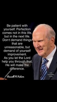 Don't expect perfection of yourself now. Understand that it's all a process. With Heavenly Father's help, you can improve every day. Prophet Quotes, Jesus Christ Quotes, Gospel Quotes, Mormon Quotes, Peace Quotes, Spiritual Thoughts, Spiritual Quotes, Lds Spiritual Thought, Later Day Saints